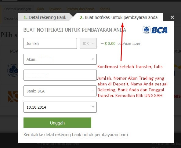 cara konfirmasi transfer deposit withdraw FBS Indonesia