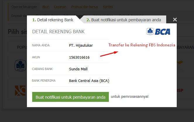 cara deposit Withdraw FBS dengan bank lokal